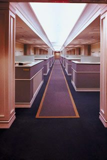 Business Long hallway with secretary cubicles - Home